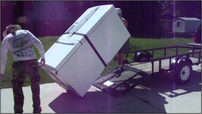 Moving A Refrigerator On A Trailer