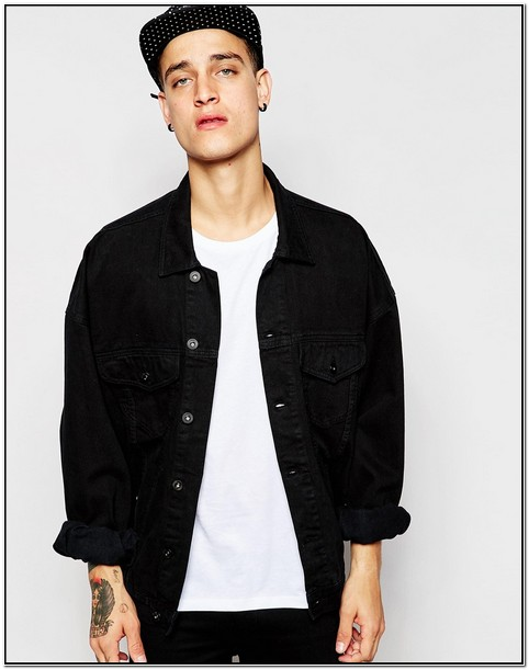 Black Oversized Denim Jacket Mens
