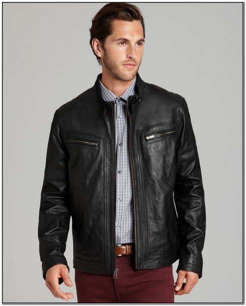 Cole Haan Mens Lambskin Leather Jacket