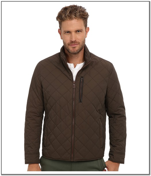 Cole Haan Mens Quilted Jacket With Leather Details