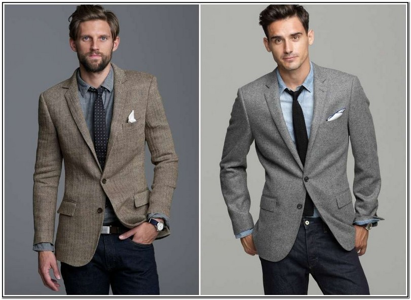 Grey Sports Jacket And Jeans