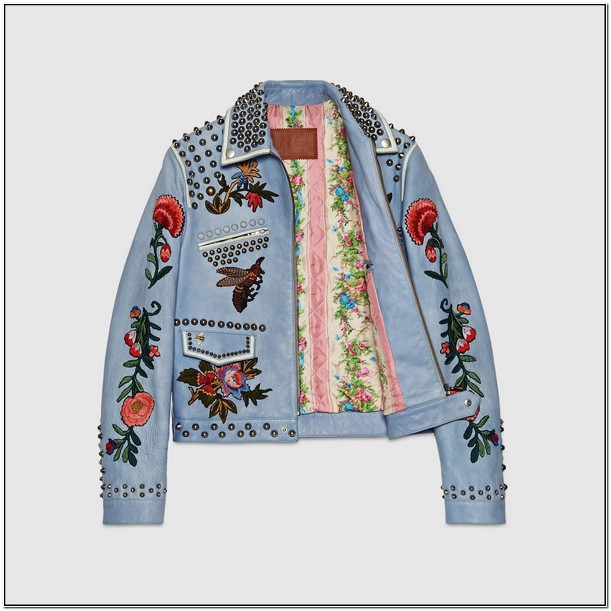 Gucci Mens Embroidered Leather Jacket