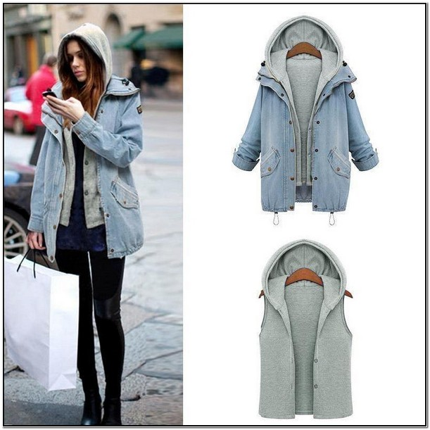Hooded Denim Jacket Womens