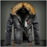 Mens Denim Jacket With Fur Collar Sale