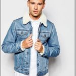 Mens Light Blue Denim Jacket With Fur Collar