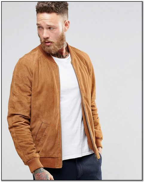 Tan Suede Bomber Jacket Mens