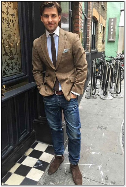 Tweed Sports Jacket And Jeans